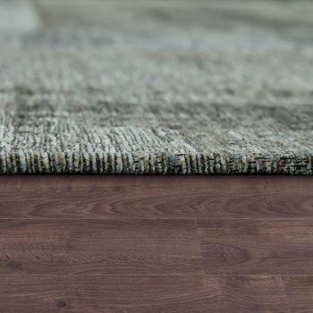 Vintage Flachgewebe Teppich Patchwork Silber Grau – Bild 2