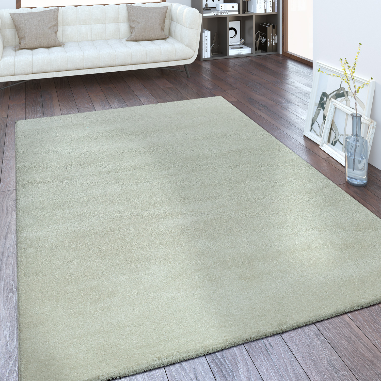 Kurzflor Teppich Hochwertig Einfarbig Creme
