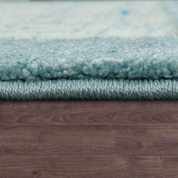 Kurzflor Teppich Bordüre Farbverlauf Blau – Bild 2