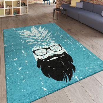 Designer Kurzflor Teppich Ananas Mann Türkis – Bild 1