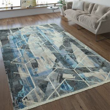 Designer Rug Geometric Pattern Grey Blue – Bild 1