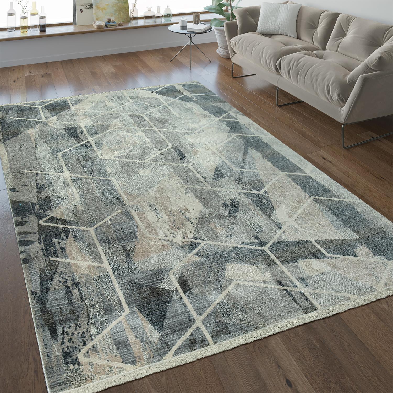 Designer Teppich Geometrische Muster Taupe Teppiche Kurzflor Teppiche