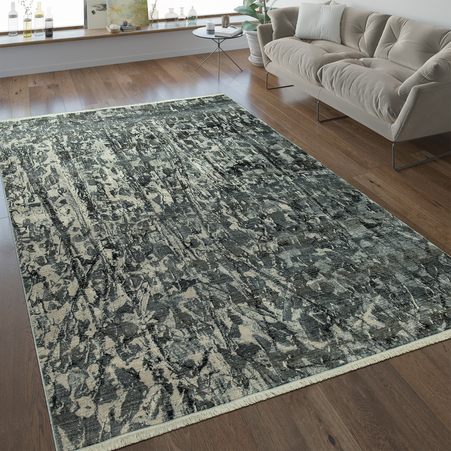 Designer Rug Abstract Design Silver Grey Rug24