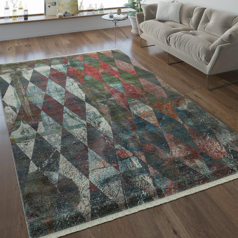 Designer Teppich Rauten Muster Multicolor