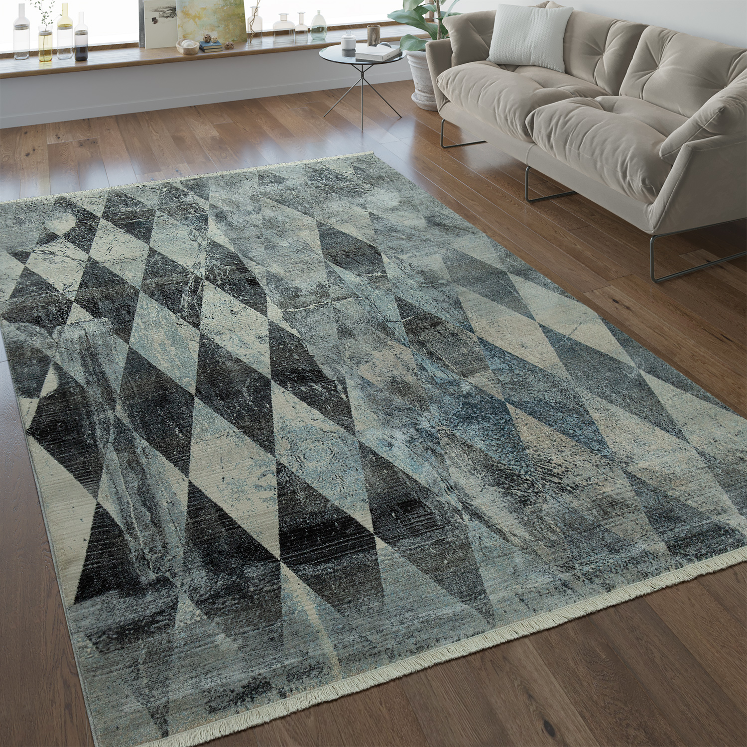 Designer Rug Diamond Pattern Silver Grey