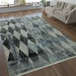Designer Rug Diamond Pattern Silver Grey 001