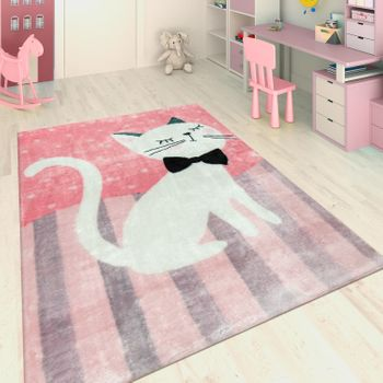 Hand Tufted Children's Rug Cat Pink