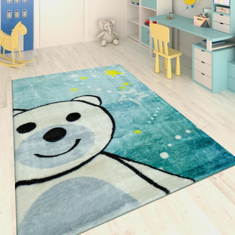 Hand Tufted Children's Rug Happy Bear Blue