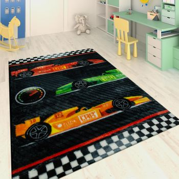 Hand Tufted Children's Rug Racing Cars Red – Bild 1