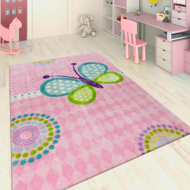 Alfombra infantil tejida a mano mariposa rosa alfombras for Alfombra bano infantil