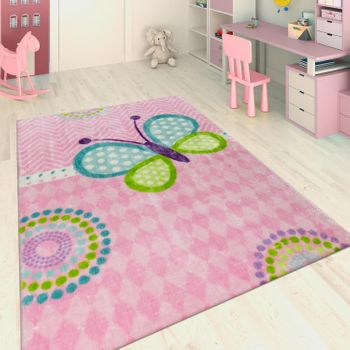 Hand Tufted Children's Rug Butterfly Pink