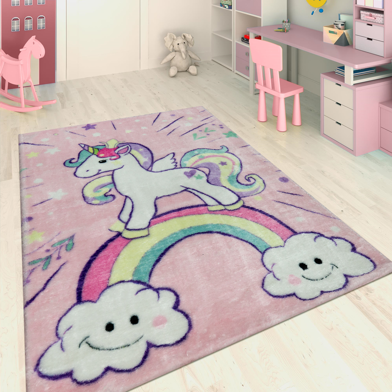 Hand Tufted Children's Rug Unicorn Pink