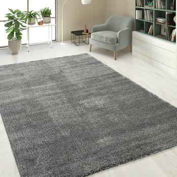 Hochflorteppich Einfarbig Silber Grau