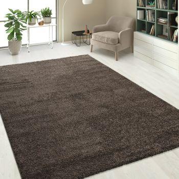 Hochflorteppich Einfarbig Braun