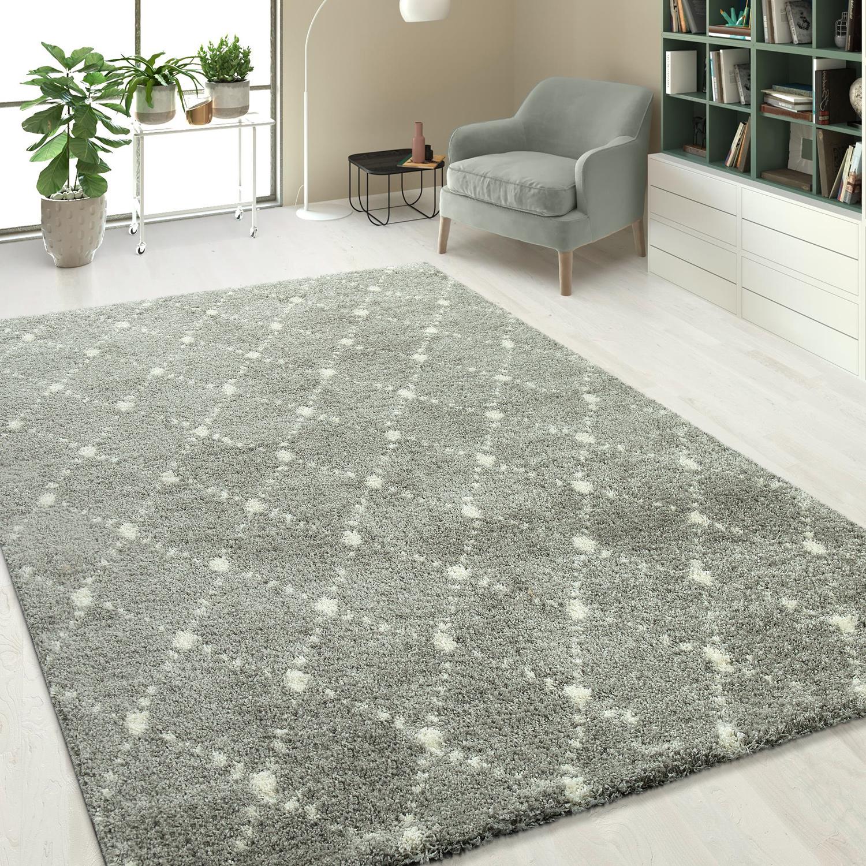 hochflorteppich einfarbig rauten muster silber grau teppiche hochflor teppiche. Black Bedroom Furniture Sets. Home Design Ideas