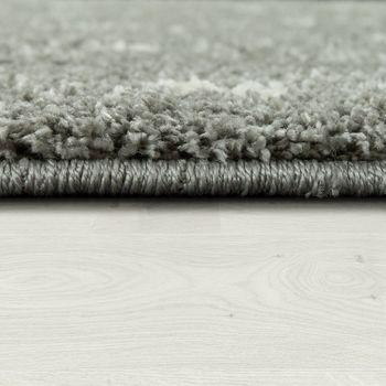 Hochflorteppich Einfarbig Rauten Muster Silber Grau – Bild 2