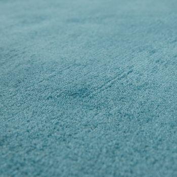 Handgefertigter Vintage Teppich Einfarbig Pastell Türkis – Bild 3