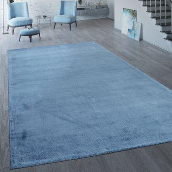 Handgefertigter Vintage Teppich Einfarbig Blau – Bild 1