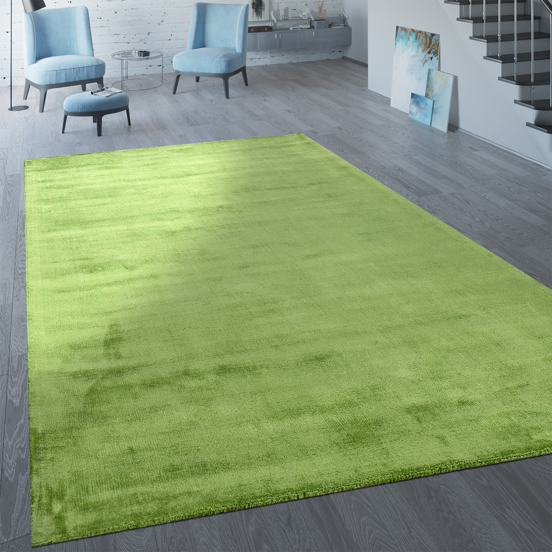 Handgefertigter Vintage Teppich Einfarbig Pastell Grün