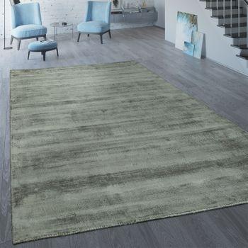 Handgefertigter Vintage Teppich Einfarbig Silber Grau