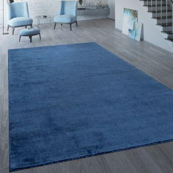 Handgefertigter Vintage Teppich Einfarbig Dunkelblau – Bild 1
