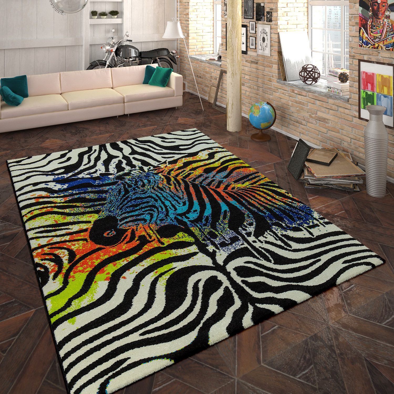Designer Teppich Animal Zebra Design Multicolor Teppiche Kurzflor