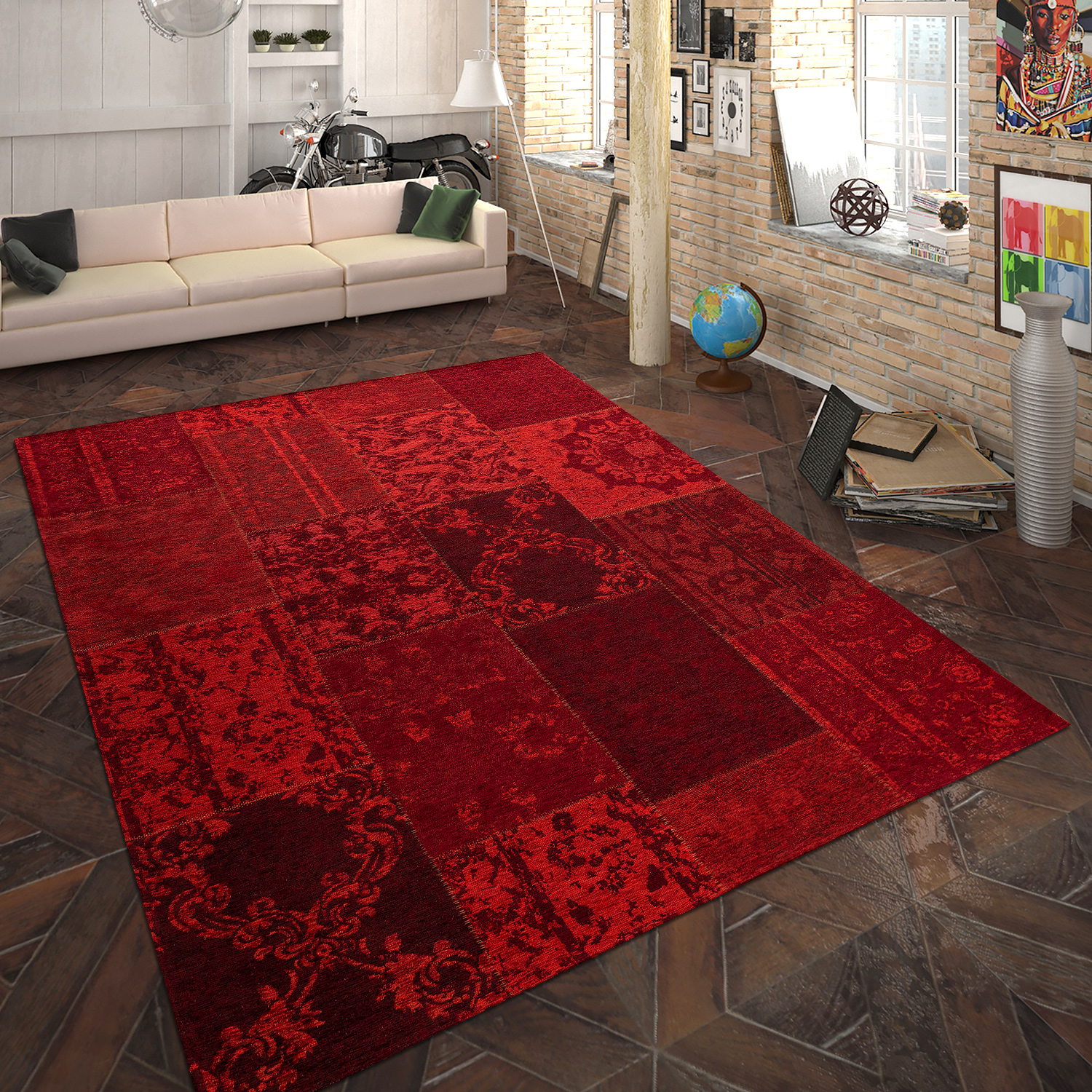 Rug Flat Woven Patchwork Red