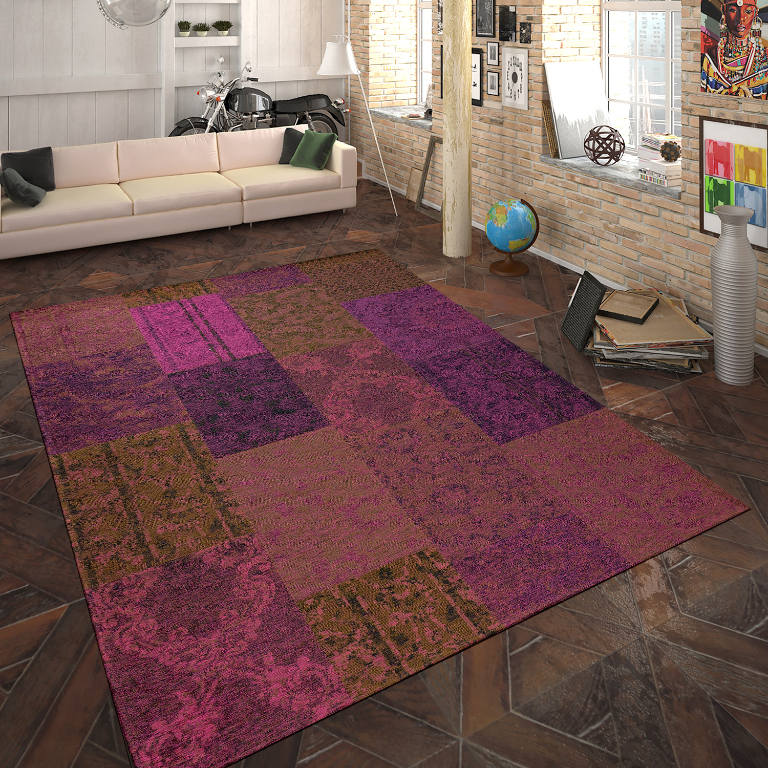 tapis tiss plat patchwork lilas tapis24. Black Bedroom Furniture Sets. Home Design Ideas