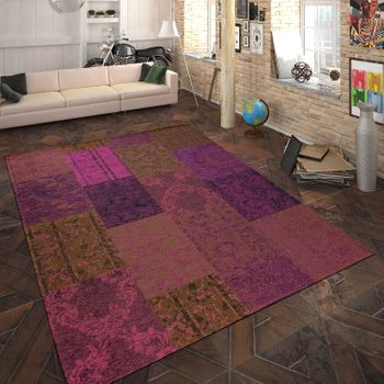 Rug Flat Woven Patchwork Purple