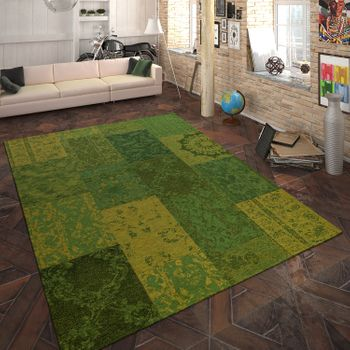 Rug Flat Woven Patchwork Green