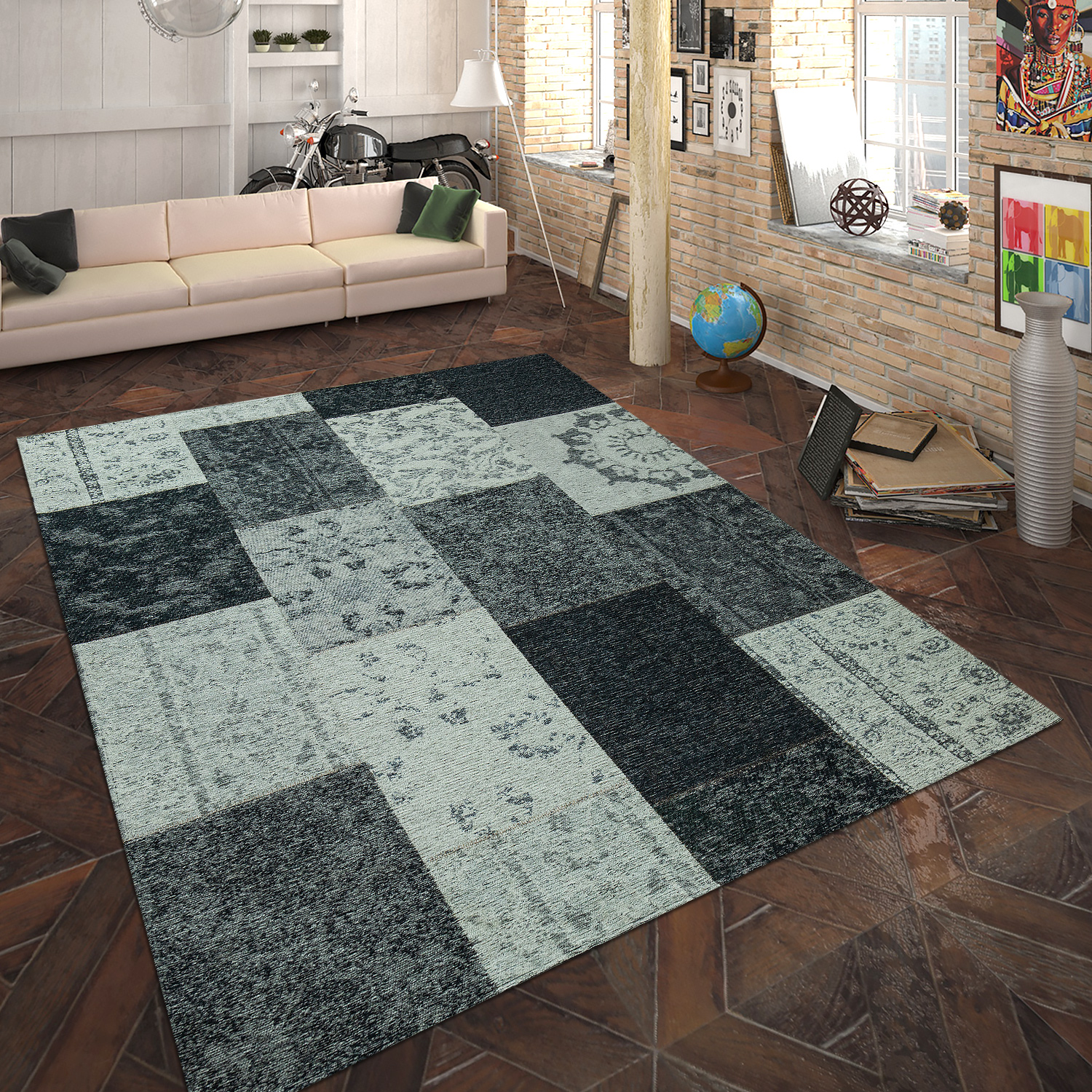 teppich flachgewebe patchwork silber grau hochflor teppiche. Black Bedroom Furniture Sets. Home Design Ideas