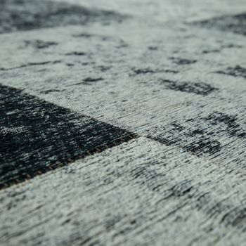 Tapijt platweefsel patchwork zilver grijs – Bild 3