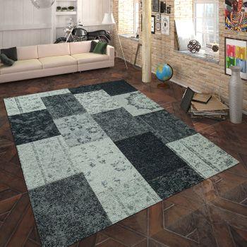 Teppich Flachgewebe Patchwork Silber Grau