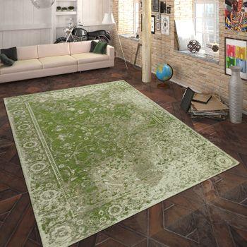 Teppich Flachgewebe Vintage Optik Grün – Bild 1
