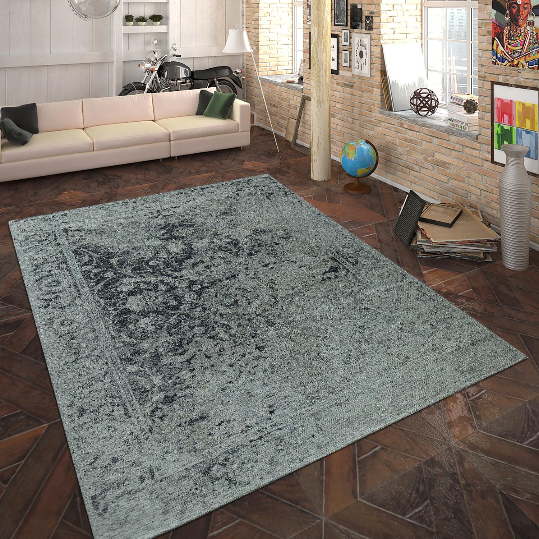 Teppich Flachgewebe Vintage Optik Silber Grau