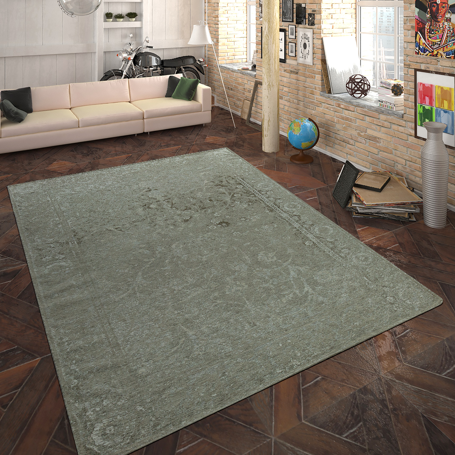 Rug Flat Woven Vintage Look Taupe