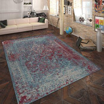 Teppich Flachgewebe Vintage Optik Türkis