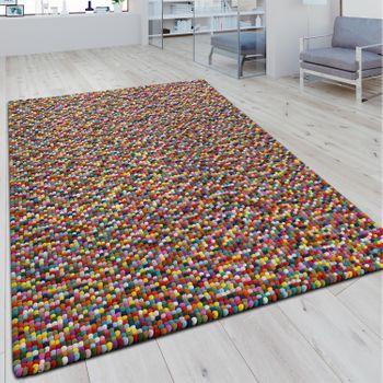 Wollfilzteppich 3D Mosaikoptik Multicolor – Bild 1
