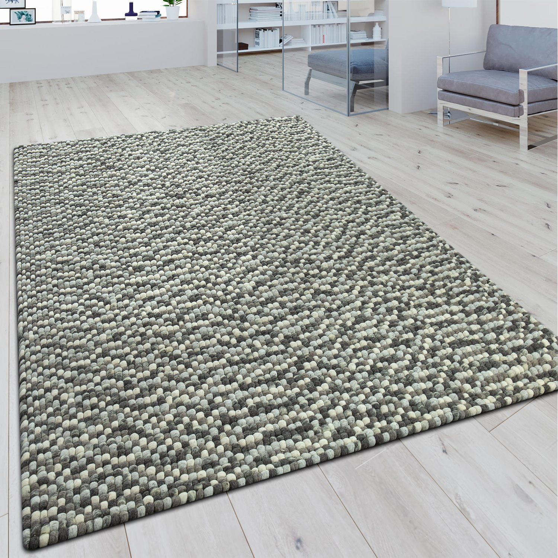 Wollfilzteppich 3D Mosaikoptik Grau
