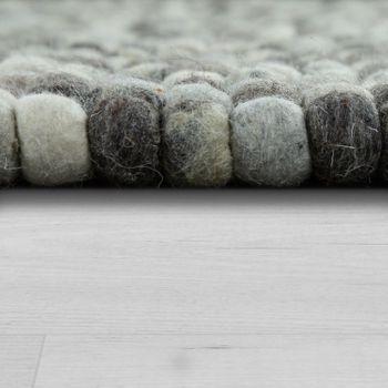 Wollfilzteppich 3D Mosaikoptik Grau – Bild 2