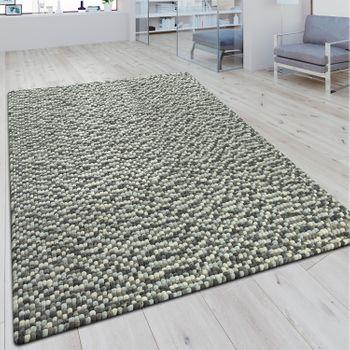Wollfilzteppich 3D Mosaikoptik Grau – Bild 1