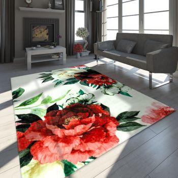 Design-tapijt bloemmotief wit – Bild 1