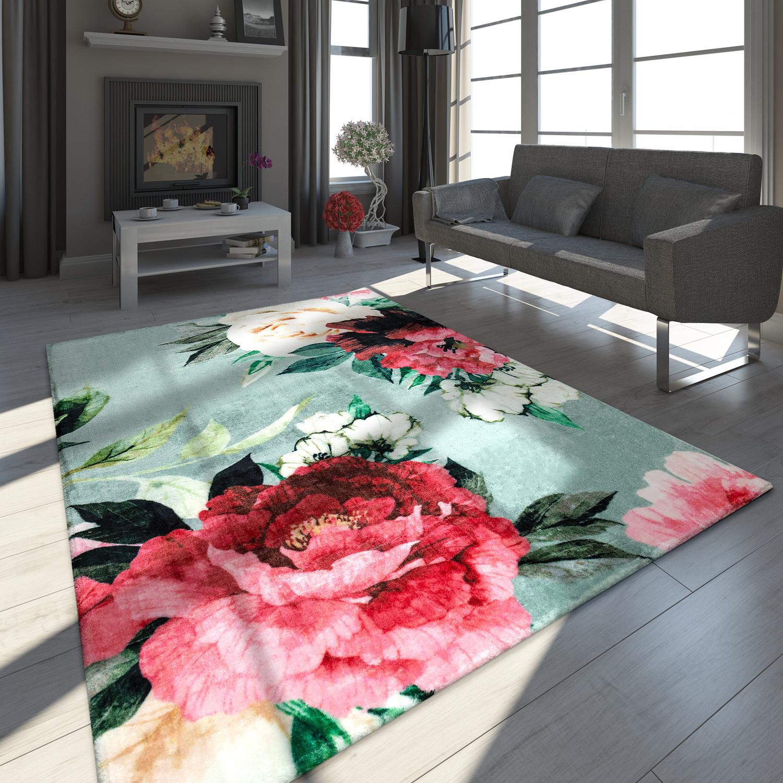 Designer Teppich Blumen Muster Grau