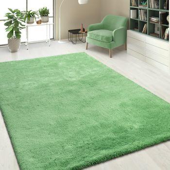 Handgetuftet Hochflorteppich Einfarbig Pastell Grün – Bild 1