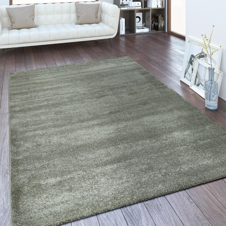 Moderner Kurzflor Teppich Einfarbig Silber Grau