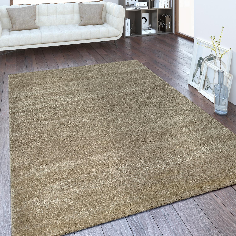 Moderner Kurzflor Teppich Einfarbig Beige