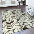 Designer Teppich Linien Design Weiß  001