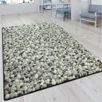 Wollfilzteppich Steinoptik 3D Effekt Grau – Bild 1