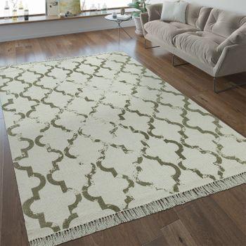 Flachgewebe Teppich Marokkanisches Muster Taupe – Bild 1
