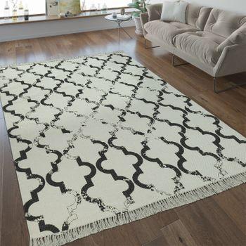 Flachgewebe Teppich Marokkanisches Muster Anthrazit – Bild 1